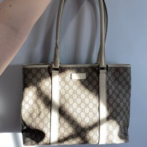 Gucci Beige GG Monogram White Leather-Trim Tote